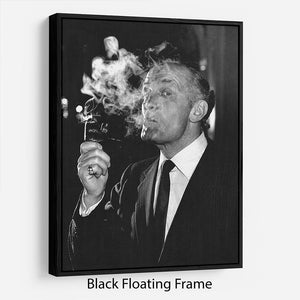 Boxer Henry Cooper smoking a pipe Floating Frame Canvas