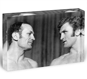 Boxers Henry Cooper and Joe Bugner Acrylic Block - Canvas Art Rocks - 1