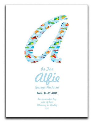 Personalised New Baby Boy Alphabet Canvas Print - Canvas Art Rocks