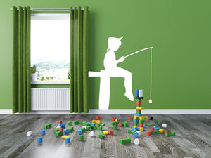 Boy Fishing Wall Sticker - Canvas Art Rocks