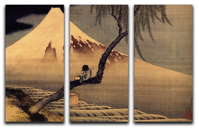Boy in front of Fujiama by Hokusai 3 Split Panel Canvas Print