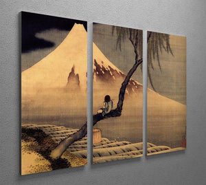 Boy in front of Fujiama by Hokusai 3 Split Panel Canvas Print - Canvas Art Rocks - 2