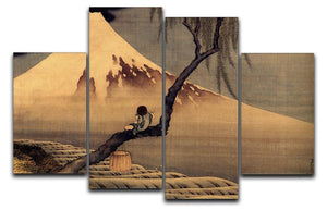 Boy in front of Fujiama by Hokusai 4 Split Panel Canvas  - Canvas Art Rocks - 1