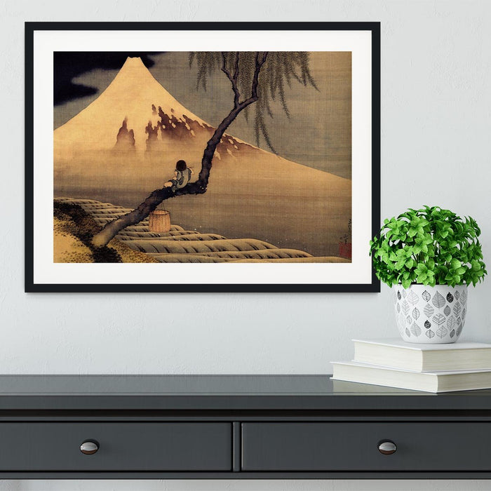 Boy in front of Fujiama by Hokusai Framed Print