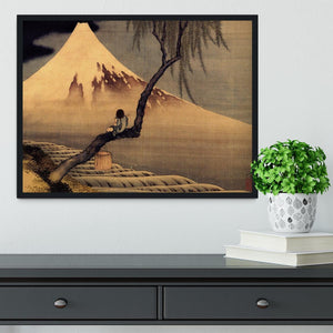 Boy in front of Fujiama by Hokusai Framed Print - Canvas Art Rocks - 2
