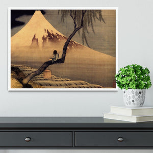 Boy in front of Fujiama by Hokusai Framed Print - Canvas Art Rocks -6
