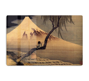 Boy in front of Fujiama by Hokusai HD Metal Print