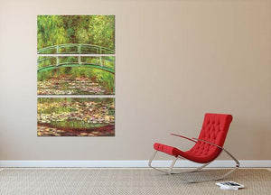 Bridge over the sea rose pond by Monet 3 Split Panel Canvas Print - Canvas Art Rocks - 2