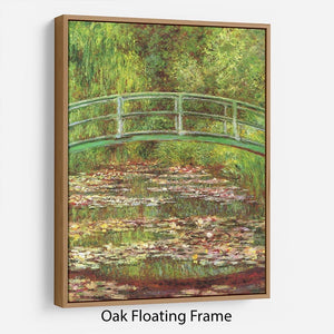 Bridge over the sea rose pond by Monet Floating Frame Canvas