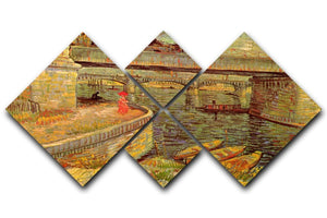 Bridges across the Seine at Asnieres by Van Gogh 4 Square Multi Panel Canvas  - Canvas Art Rocks - 1