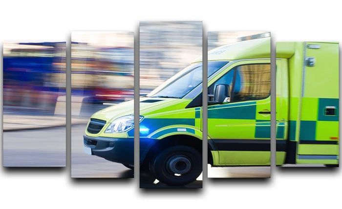 British ambulance in motion blur 5 Split Panel Canvas