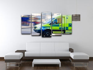 British ambulance in motion blur 5 Split Panel Canvas  - Canvas Art Rocks - 3
