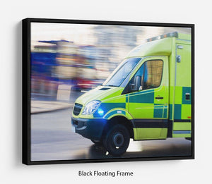 British ambulance in motion blur Floating Frame Canvas