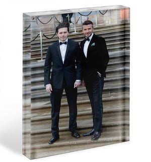 Brooklyn Beckham and David Beckham Acrylic Block - Canvas Art Rocks - 1