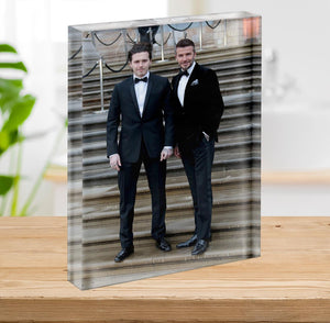 Brooklyn Beckham and David Beckham Acrylic Block - Canvas Art Rocks - 2