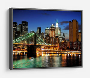 Brooklyn bridge downtown at night HD Metal Print