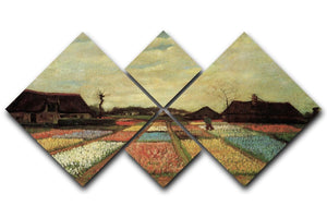 Bulb Fields by Van Gogh 4 Square Multi Panel Canvas  - Canvas Art Rocks - 1
