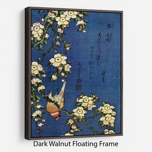 Bullfinch and drooping cherry by Hokusai Floating Frame Canvas