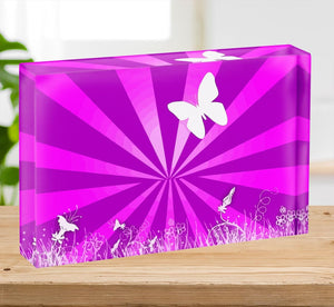 Butterfly Abstract Acrylic Block - Canvas Art Rocks - 2