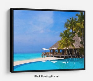 Cafe and pool on a tropical beach Floating Frame Canvas - Canvas Art Rocks - 1