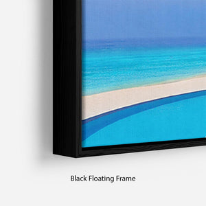 Cafe and pool on a tropical beach Floating Frame Canvas - Canvas Art Rocks - 2