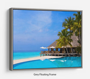 Cafe and pool on a tropical beach Floating Frame Canvas - Canvas Art Rocks - 3