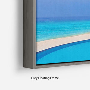 Cafe and pool on a tropical beach Floating Frame Canvas - Canvas Art Rocks - 4