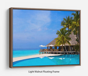 Cafe and pool on a tropical beach Floating Frame Canvas - Canvas Art Rocks 7