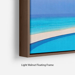 Cafe and pool on a tropical beach Floating Frame Canvas - Canvas Art Rocks - 8