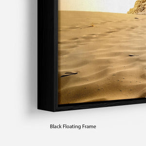 Camel near pyramids desert of Egypt Floating Frame Canvas