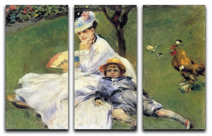 Camille Monet and her son Jean in the garden of Argenteuil by Renoir 3 Split Panel Canvas Print - Canvas Art Rocks - 1