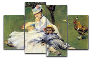 Camille Monet and her son Jean in the garden of Argenteuil by Renoir 4 Split Panel Canvas  - Canvas Art Rocks - 1