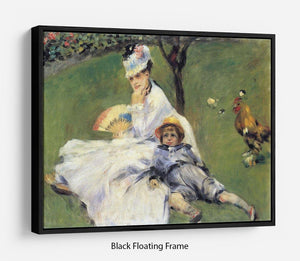 Camille Monet and her son Jean in the garden of Argenteuil by Renoir Floating Frame Canvas