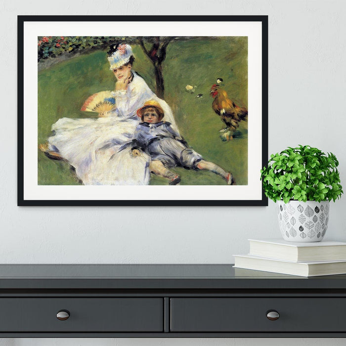 Camille Monet and her son Jean in the garden of Argenteuil by Renoir Framed Print