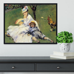Camille Monet and her son Jean in the garden of Argenteuil by Renoir Framed Print - Canvas Art Rocks - 2