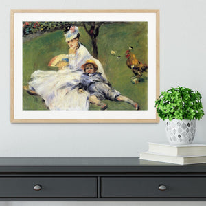 Camille Monet and her son Jean in the garden of Argenteuil by Renoir Framed Print - Canvas Art Rocks - 3