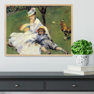 Camille Monet and her son Jean in the garden of Argenteuil by Renoir Framed Print - Canvas Art Rocks - 4
