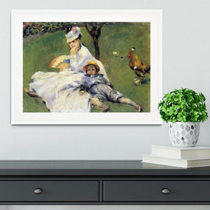 Camille Monet and her son Jean in the garden of Argenteuil by Renoir Framed Print - Canvas Art Rocks - 5