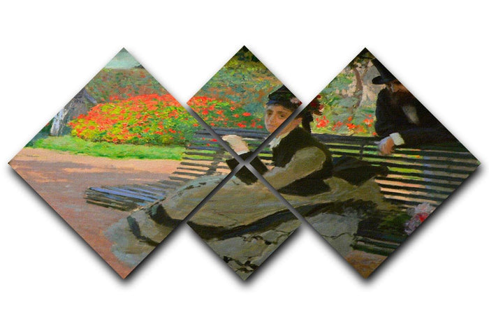 Camille Monet on a garden bench by Monet 4 Square Multi Panel Canvas
