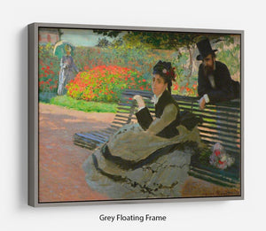 Camille Monet on a garden bench by Monet Floating Frame Canvas