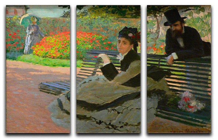 Camille Monet on a garden bench by Monet Split Panel Canvas Print