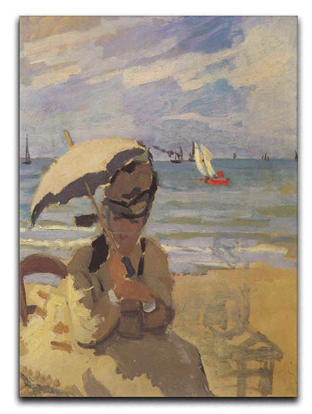 Camille Monet on the beach at Trouville by Monet Canvas Print or Poster