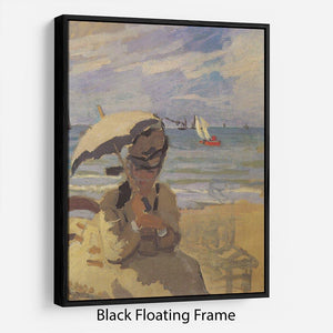 Camille Monet on the beach at Trouville by Monet Floating Frame Canvas