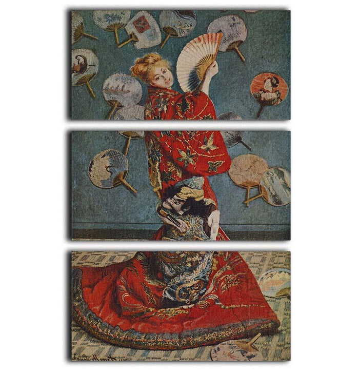 Camille in Japanese dress by Monet 3 Split Panel Canvas Print