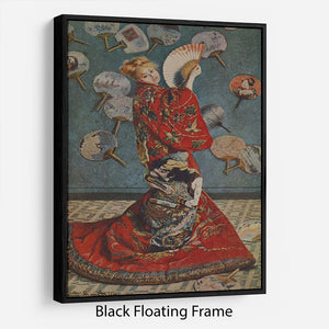 Camille in Japanese dress by Monet Floating Frame Canvas