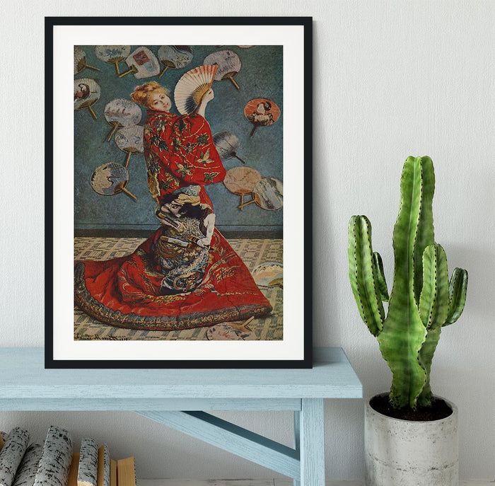 Camille in Japanese dress by Monet Framed Print