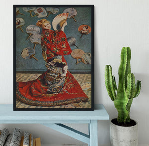 Camille in Japanese dress by Monet Framed Print - Canvas Art Rocks - 2