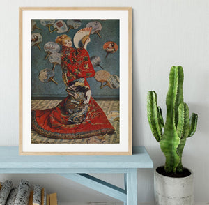 Camille in Japanese dress by Monet Framed Print - Canvas Art Rocks - 3