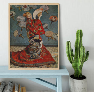 Camille in Japanese dress by Monet Framed Print - Canvas Art Rocks - 4