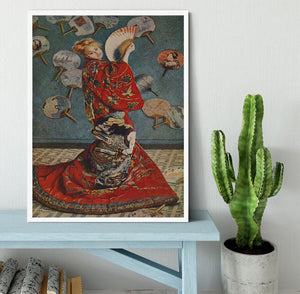 Camille in Japanese dress by Monet Framed Print - Canvas Art Rocks -6